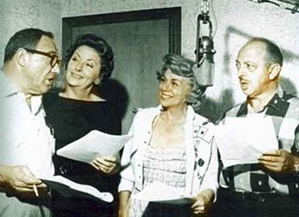 Flintstones Voice Actors: Alan Reed as Fred Flintstone, Jean Vander Pyl as Wilma Flintstone, Bea Benaderet as Betty Rubble and Mel Blanc as Barney Rubble
