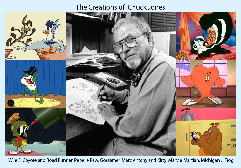Chuck Jones and his creations, Wile E. Coyote, Road Runner, Pepe le Pew, Gossamer, Marc Antony and Kitty, Marvin Martian, Michigan J. Frog