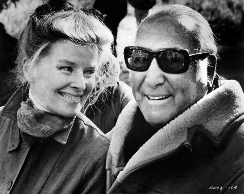 Katharine Hepburn and producer Hal B. Wallis during filming of Rooster Cogburn