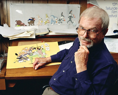 Producer-director-artist Chuck Jones sits at the drawing table in his southern California home, 1999