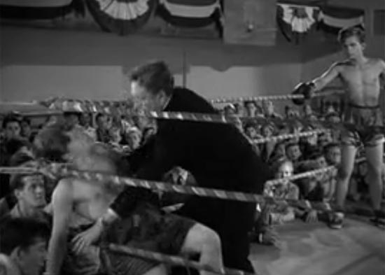Mickey Rooney knocked out in the ring, Boys Town