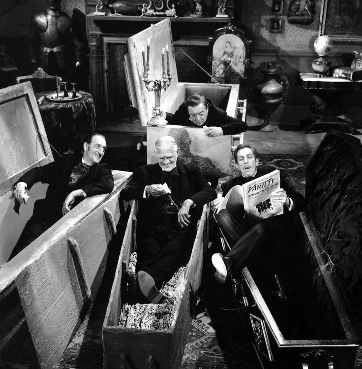 Basil Rathbone, Peter Lorre, Boris Karloff and Vincent Price, Halloween
