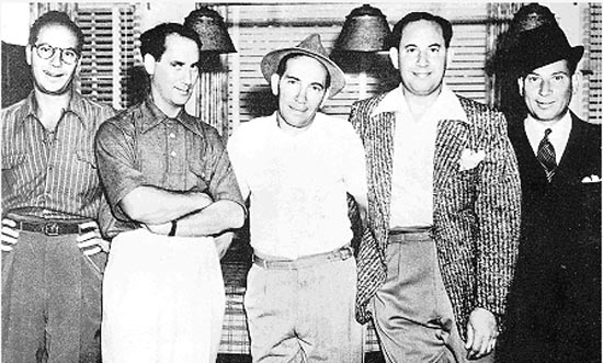 The five Marx Brothers: Zeppo, Groucho, Chico, Gummo, Harpo