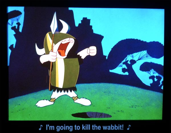 Elmer Fudd sings I'm going to kill the wabbit, Chuck Jones Exhibit Museum of Movie Image