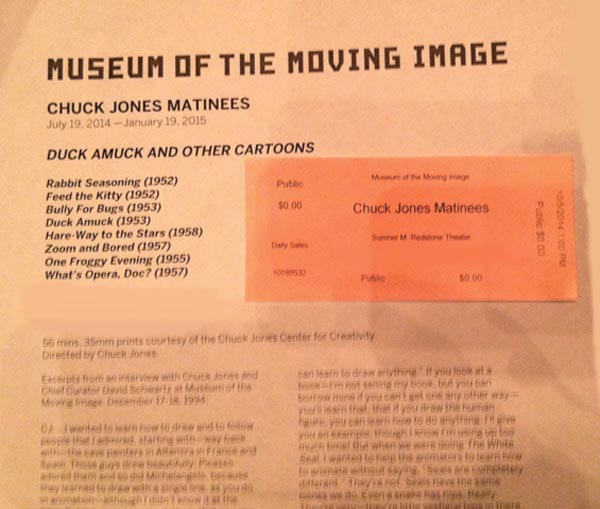 Matinee Program, Chuck Jones Exhibit, Museum of the Moving Image