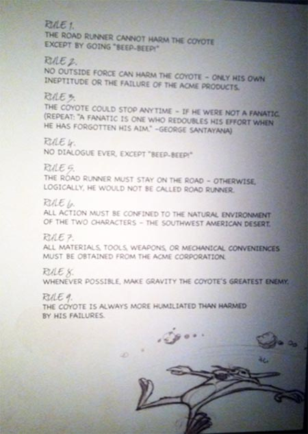 Nine Rules for The Road Runner, Chuck Jones Exhibit, Museum of the Moving Image
