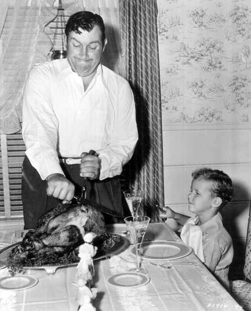 Andy Devine with turkey, Thanksgiving