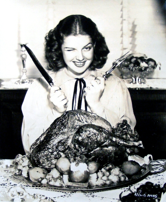 Ann Sheridan with turkey, Thanksgiving