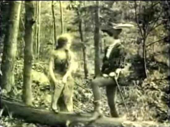 cinderella 1914, mary pickford as cinderella and owen moore as prince charming, meeting in the woods