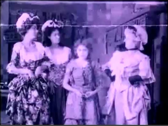 Mary Pickford as Cinderella 1914 with Stepmother Isabel Vernon, and two Step Sisters Georgia Wilson and Lucille Carney