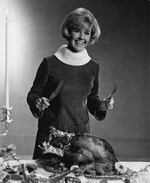 Doris Day with turkey, Thanksgiving