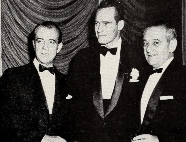 Ramon Novarro, Charlton Heston, William Wyler at Ben Hur premiere