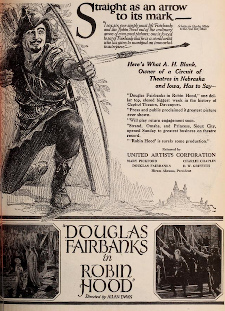 robin hood Douglas Fairbanks 1922 ad