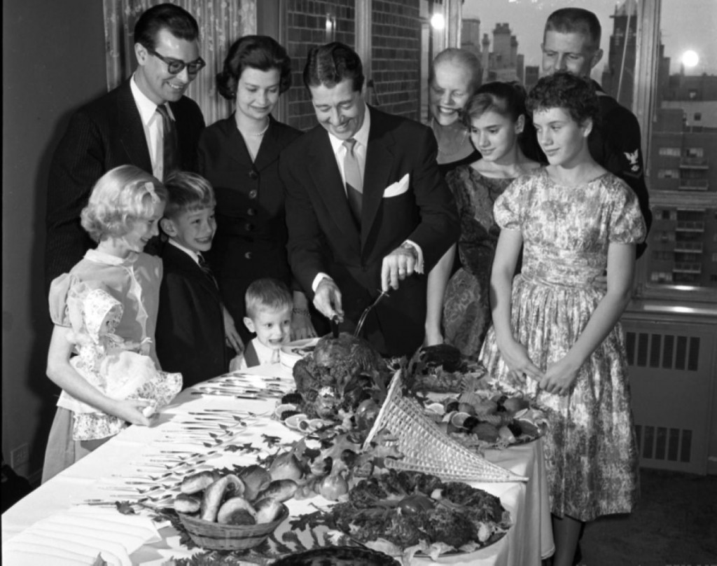 Don Ameche with turkey, Thanksgiving