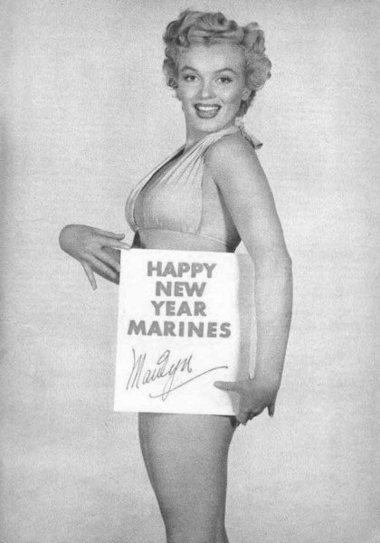 Marilyn Monroe send Marines happy new year