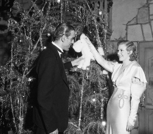 boris karloff and ginger rodgers decorating tree