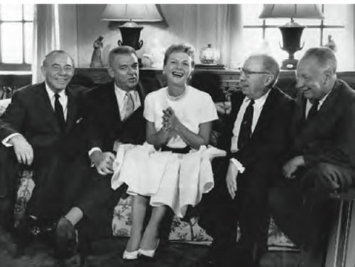December 1959: Mary Martin, Broadway's Maria von Trapp, flanked by The Sound of Music's creative team. Left to right: Richard Rodgers, Oscar Hammerstein II, Howard Lindsay, and Russel Crouse.