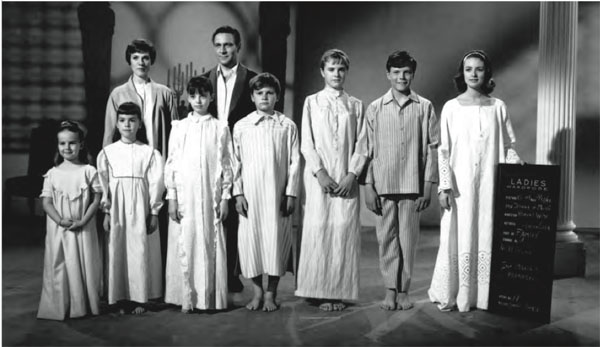 The Sound of Music, Wardrobe test shot with cast. Front row, L to R: Kym Karath, Debbie Turner, Angela Cartwright, Duane Chase, Heather Menzies, Nicholas Hammond, Charmian Carr; back row: Julie Andrews, Christopher Plummer