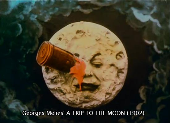 George Melies, A Trip to the Moon (1902), moon with rocket in eye