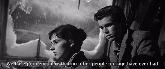 The Diary of Anne Frank (1959)... We have problems here that no other people our age have ever had. -Millie Perkins as Anne Frank