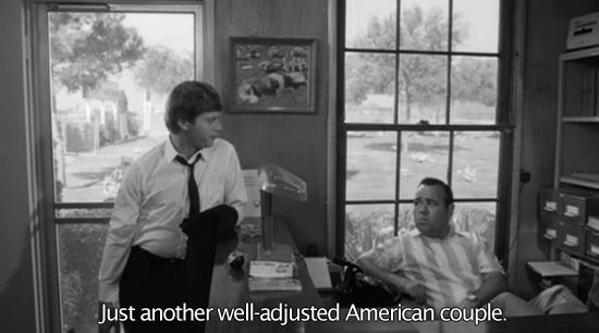 The Loved One (1965)... Just another well-adjusted American couple. -Robert Morse as Dennis Barlow