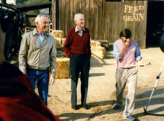 Johnny Carson, James Stewart and David Heeley on backlot, In the Company of Legends