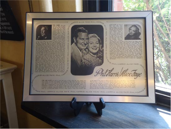 the Phil Harris-Alice Faye Collection in Linton, Indiana., plaque