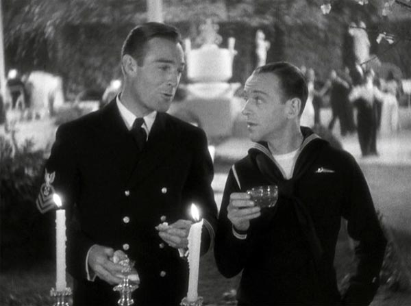 randolph scott and fred astaire as bilge and bake baker in follow the fleet