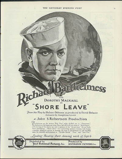 Richard Barthelmess Shore Leave Ad