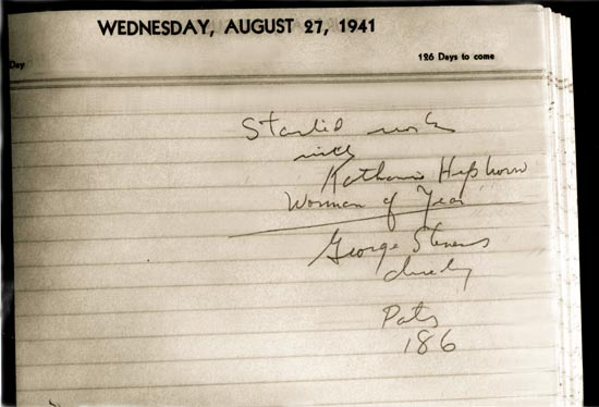 spencer tracy diary page about  starting work with Katharine Hepburn on Woman of the Year 1941