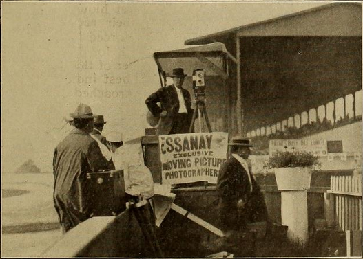 Essanay camermen on sidelines of first Indy 500 race.