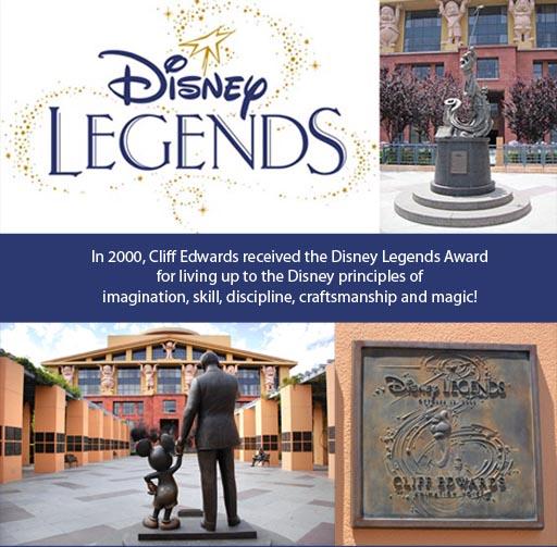 Cliff Edwards Disney Legends Plaque in Disney Legends Plaza and Disney Legends Award inducted 2000