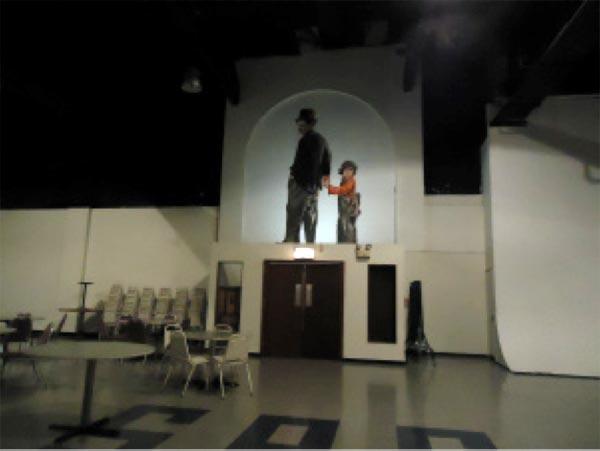 Essanay Studio auditorium, Charlie Chaplin mural from The Kid