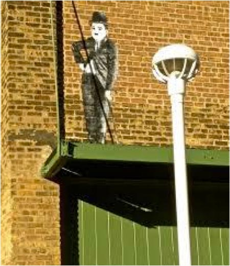 Essanay Studios exterior with Charlie Chaplin painting