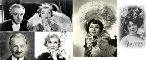 "A comparison of the real Billie Burke, Florenz Ziegfeld, and Anna Held with their cinematic counterparts, Myna Loy, William Powell, and Luise Rainier, in ""the Great Ziegfeld"" (1936)."