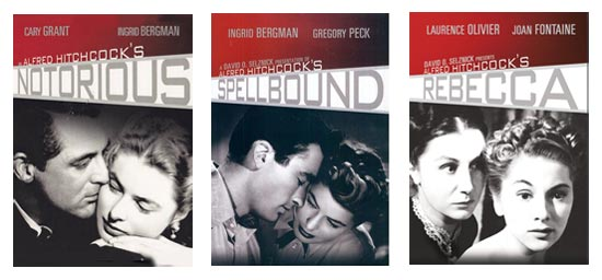 Three Alfred Hitchcock DVDs: Rebecca, Spellbound, Notorious