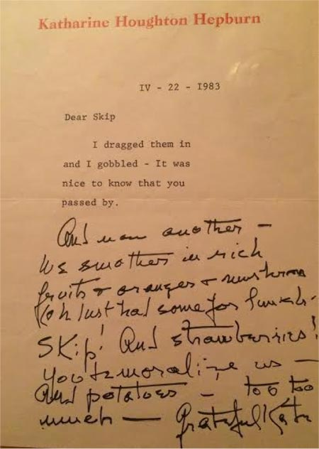 Katharine Hepburn - Correspondence between Katharine Hepburn and Skip, the man who would deliver her groceries. From my personal collection.