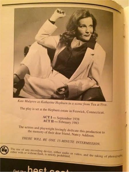 Katharine Hepburn, Tea at Five Playbill, Playbill from my personal collection
