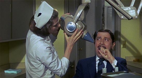 Ingrid Bergman and Vito Scotti in Cactus Flower, xray machine