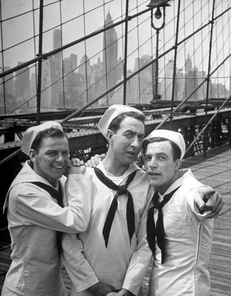 "Gene, Jules Munshin, and Frank Sinatra on location in New York for ""On the Town."""