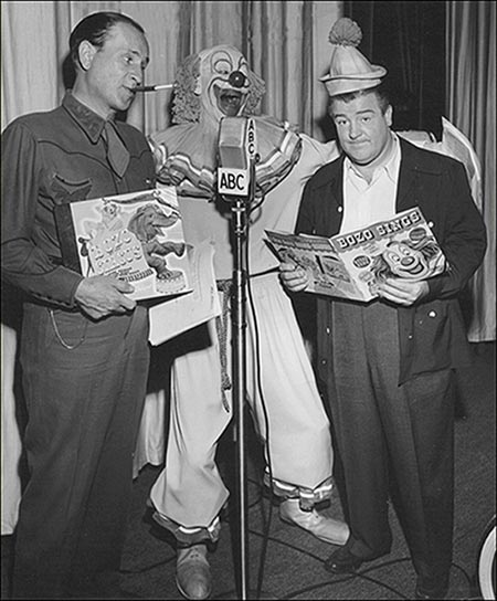 Three Clowns: Abbott and Costello with Pinto Colvig as Bozo the Clown