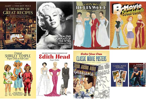 Dover Publications Classic Movie Books including Vincent Price Cookbook, Film Star Portraits of the 1950s, Paper Dolls, Stickers, Postcards, Coloring Book