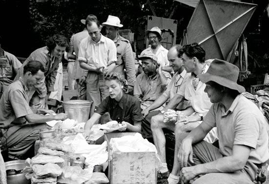 Making Sandwiches on the set of The African Queen (1951), where Bacall visited Bogie while he was filming with co-star Katharine Hepburn