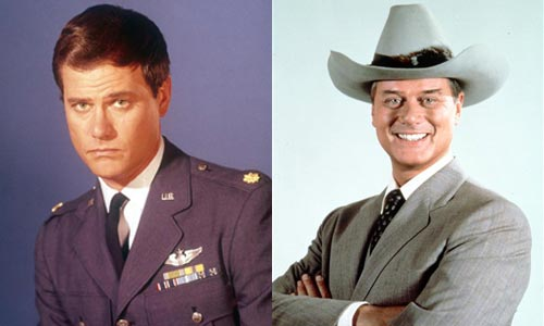 Larry Hagman in his two most famous roles, as Major Nelson in I Dream of Jeannie, and as JR Ewing in Dallas