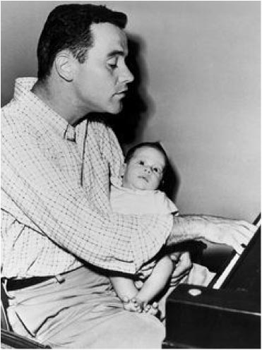 jack lemmon at piano with son