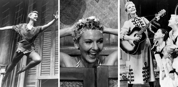 Mary Martin as Peter Pan in Peter Pan, Nellie Forbush in South Pacific,  and Maria Von Trapp in The Sound of Music