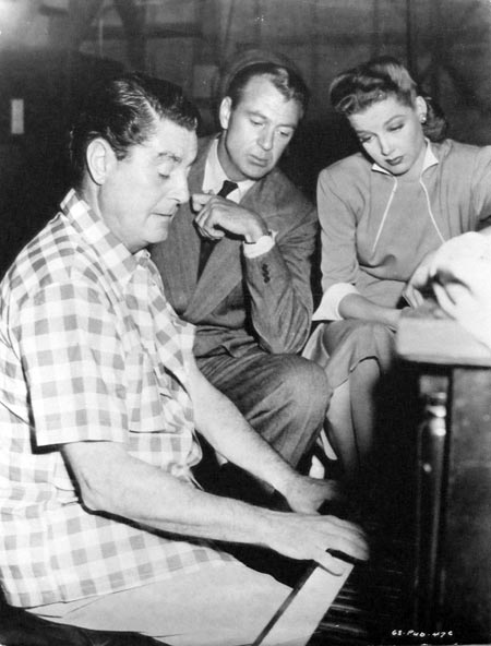 Director Leo McCary playing the piano, with Gary Cooper and Ann Sheridan, on the set of Good Sam (1948)