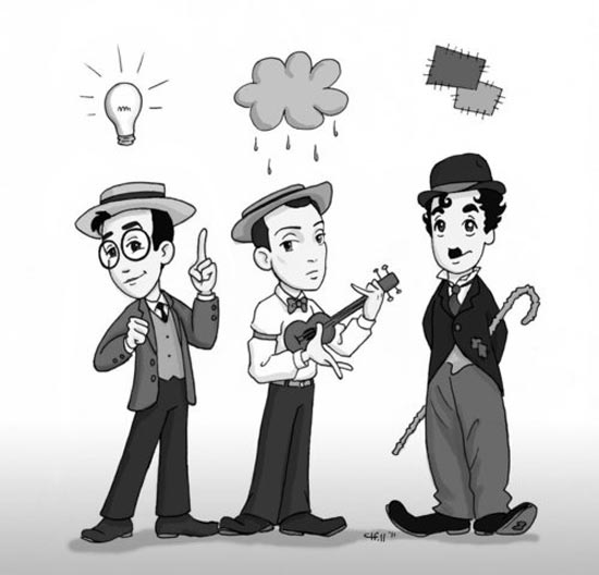 Cartooon drawing of Harold Lloyd, Buster Keaton and Charlie Chaplin