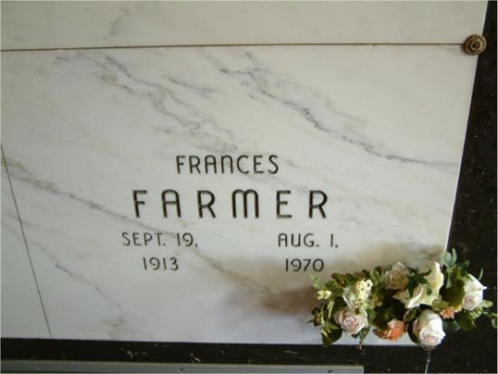 Francis Farmer. Oaklawn Memorial Gardens Cemetery in Indianapolis