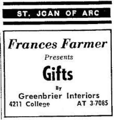 Francis Farmer ad in St. Joan of Arc Church Bulletin